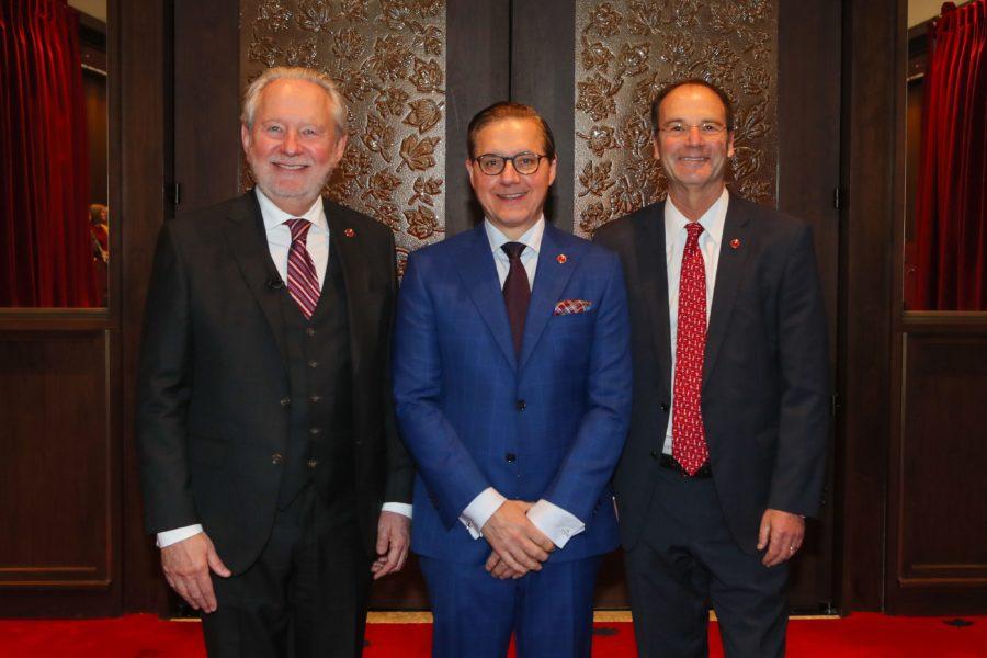 Senator Peter Harder (left) and Senator Marc Gold (right) welcome Senator Tony Loffreda (centre) to the Red Chamber on December 5, 2019. (Photo: Greg Kolz)
