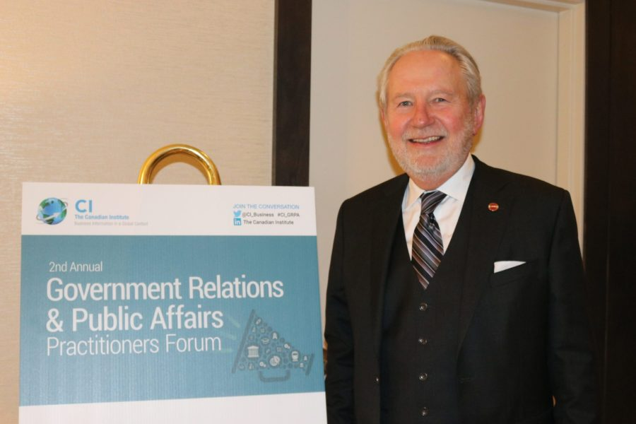 Senator Peter Harder spoke at the  Government Relations and Public Affairs Practitioners Forum on March 20, 2018.