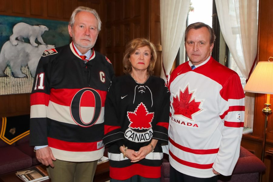 Senator Peter Harder, the Government Representative in the Senate, Senator Diane Bellemare, the Legislative Deputy to the Government Representative, and Senator Grant Mitchell, the Government Liaison, wear jerseys in honour of the Humboldt Broncos. Photo: Greg Kolz)